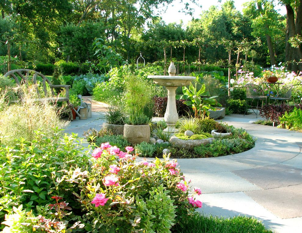 Fairfield Garden Center   Traditional Landscape Also Bird Bath Branch Bench Cast Stone Pots Flower Beds Mature Trees Patio Furniture Planting Beds Stone Tiles Watering Cans