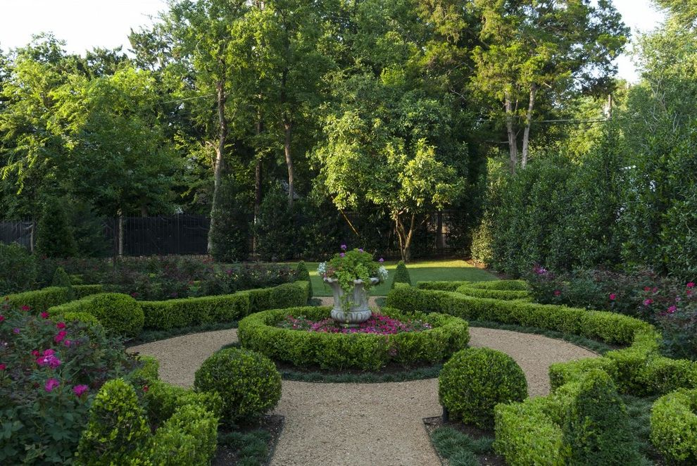 Fairfield Garden Center   Traditional Landscape Also Flowering Plants Formal Garden Gravel Hedge Knot Garden Lawn Parterre Shaped Hedge Trees Urn