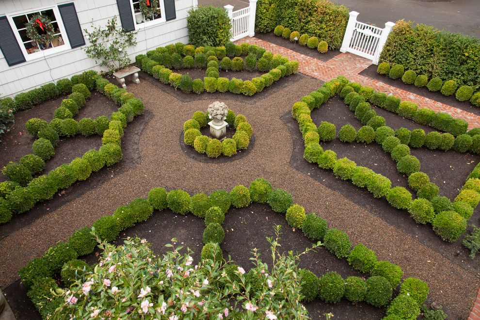 Fairfield Garden Center with Traditional Landscape Also Boxwood Brick Walkway English Garden French Garden Garden Gate Hedges Knot Garden Parterre Sculpture Shingles Shutters