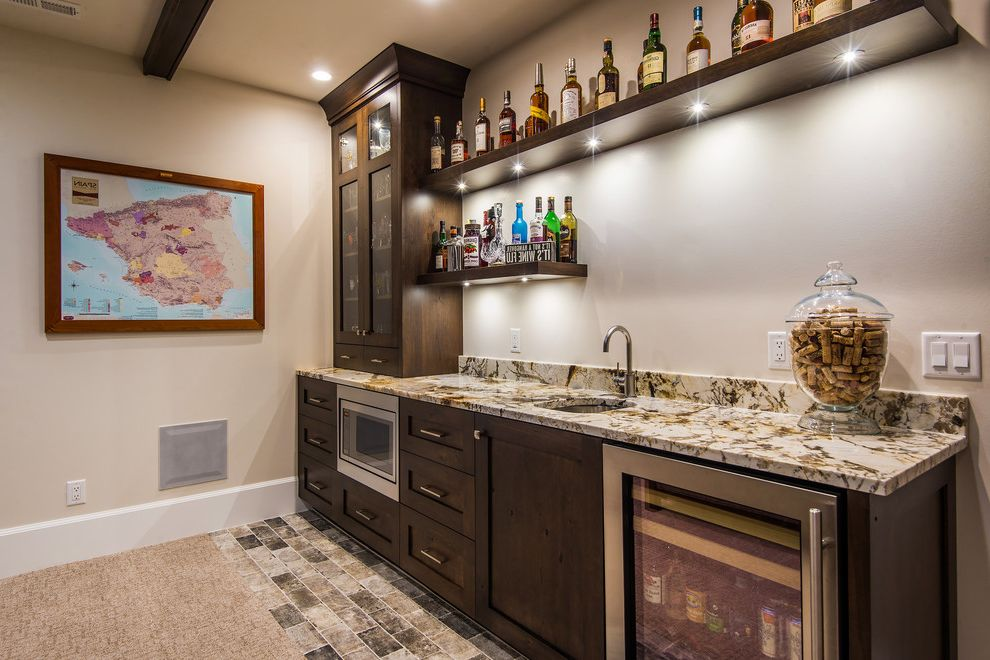 Foremost Homes   Rustic Home Bar  and Attic Basement Beer Wine Fridges Beige Walls Den Glass Jar with Lid Home Bar in Living Room Microwave in Home Bar Shaker Style Stone Floors Under Cabinet Lighting Wet Bar Wood Cabinets Wood Wall Shelves