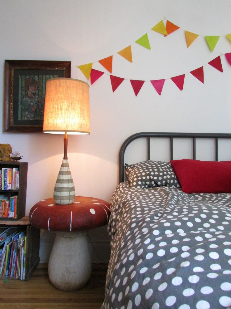 Fun Duvet Covers   Eclectic Kids Also Colorful Banner Colorful Flag Banner Gray Bedding Mushroom Side Table Mushroom Table Polka Dot Bedding Red Throw Pillow Tall Table Lamp White Wall Wood Crate Wood Crate Bookcase Wood Crate Bookshelf Wood Floor