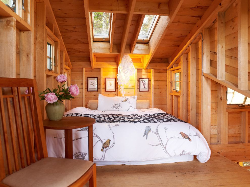 Fun Duvet Covers   Rustic Bedroom  and Bare Studs Bedroom Loft Douglas Fir Queen Bed Skylights Treehouse Unfinished