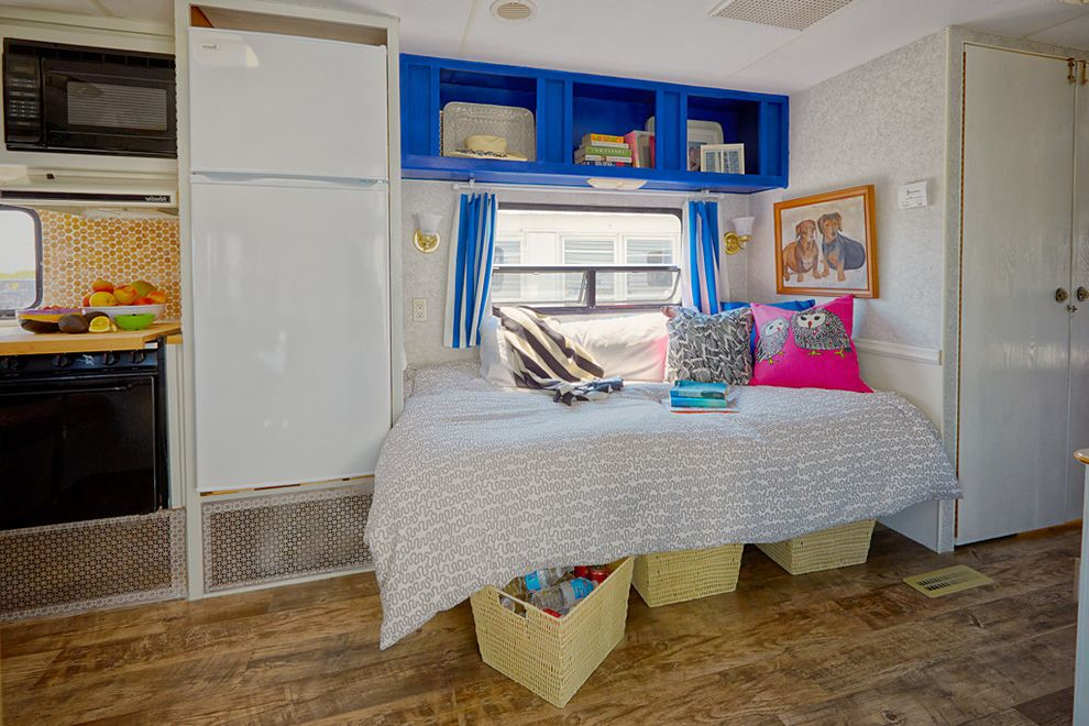 Fun Duvet Covers with Eclectic Bedroom  and Bed Bedding Built in Storage Mobile Open Concept Trailer Trailer Renovation