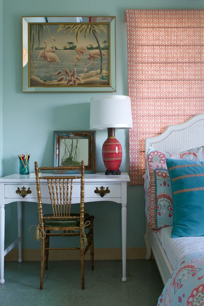 Furniture Stores in Fresno Ca with Eclectic Bedroom  and Bedside Table Coral Duvet Fabric Flamingo Gold Rattan Red Roman Shade Spindle Turquoise Woven Cane