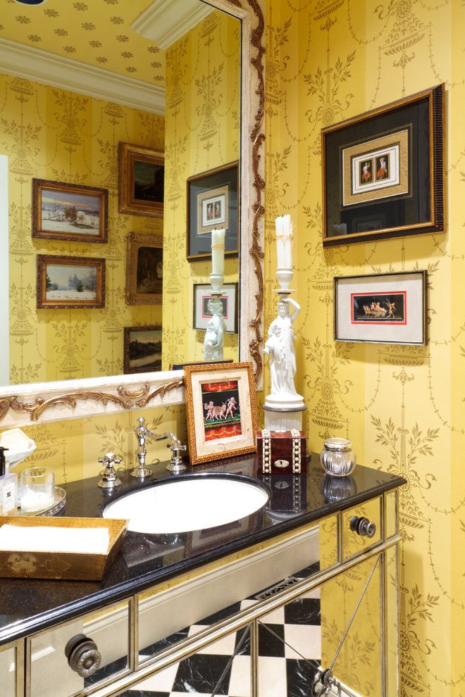 Furniture Stores in Knoxville Tn   Mediterranean Bathroom Also Black and White Checkered Tile Floor Corner Framed Wall Art Gilded Gold Trim Mirrored Vanity Nook Wall Mirror White Trim Yellow Wallpaper