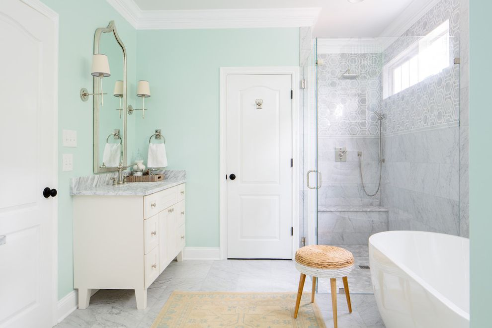 Furniture Stores in Knoxville Tn   Transitional Bathroom Also Black Doorknobs Bright Mint Walls Shower Bench Silver Mirror Simple Wall Sconces Wicker Stool