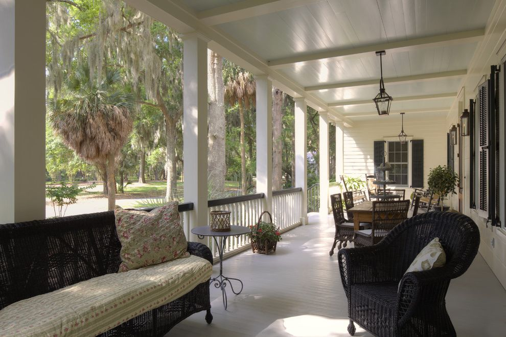 Furniture Stores in Savannah Ga   Beach Style Porch  and Deck Entrance Entry Exposed Beams Front Door Plantation Lanterns Multiple Seating Areas Porch Southern Swing Traditional Vintage Window Shutters Wood Ceiling Wood Columns Wood Siding