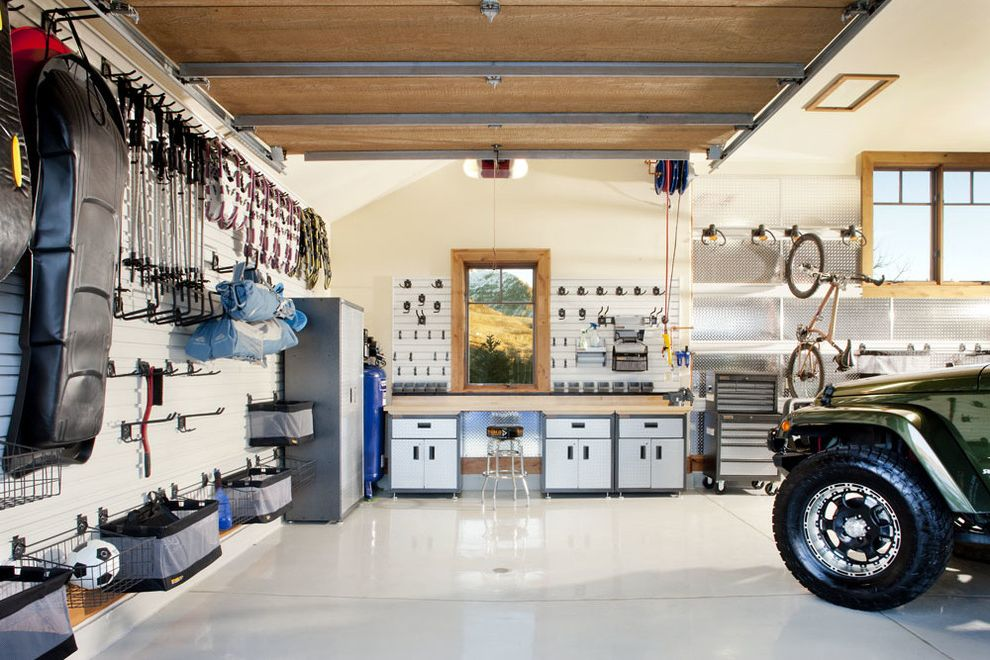 Gladiator Shelving   Contemporary Garage Also Sports Equipment Storage Tools Wall Hooks Windows Worktop