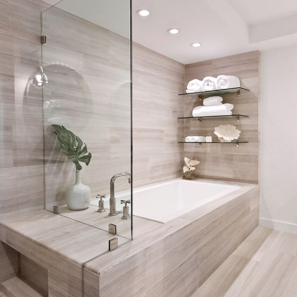 Glass Shelves for Shower   Contemporary Bathroom Also Built in Shower Bench Connected Tub and Shower Frameless Glass Shower Encloser Glass Shelving Recessed Lighting Rectangular Tub Faucet Stone Wall