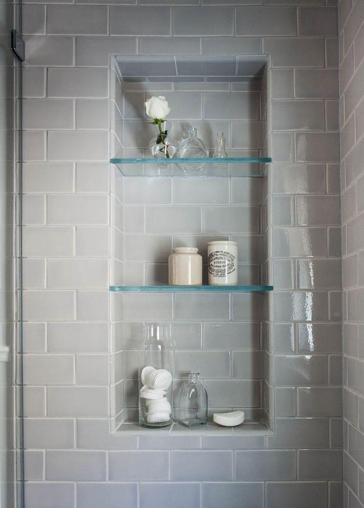 Glass Shelves for Shower   Traditional Bathroom Also Ceramic Subway Tile Glass Shelves in Shower Handmade Tile Shower Niche