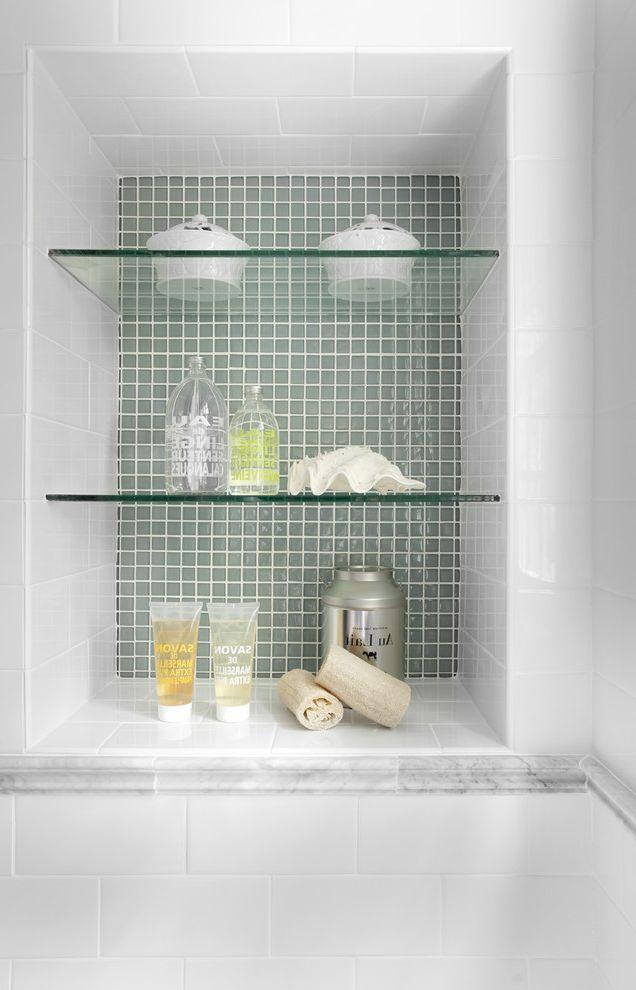 Glass Shelves for Shower   Traditional Bathroom  and Bathroom Shelves Bathroom Storage Built in Shelves Glass Shelves Mosaic Tiles Niche Subway Tiles Tile Wall