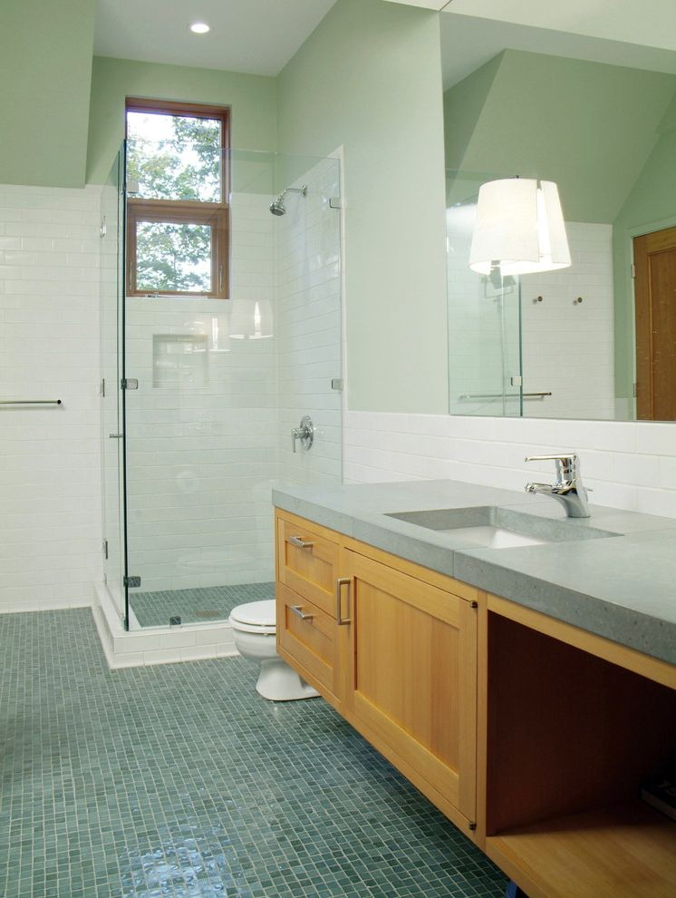 Glass Store Near Me with Rustic Bathroom  and Countertop Craftsman Floating Vanity Glass Shower Glass Tiles Light Green Soapstone Subway Tile Tile White Tile Wood Vanity