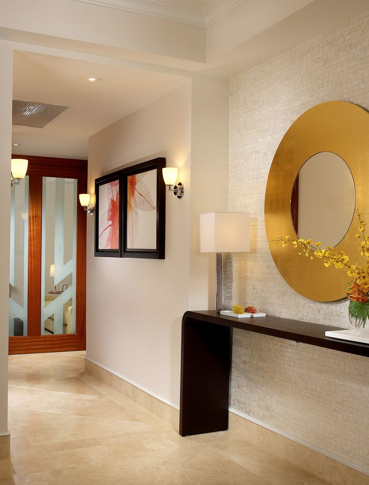 Gold Entry Table   Modern Hall Also Beige Ceiling Beige Floor Beige Tile Wall Beige Wall Console Table Dark Wood Console Table Frosted Glass Design Gold Mirror Hallway Round Gold Mirror Tile Accent Wall Tiled Wall Wall Sconce