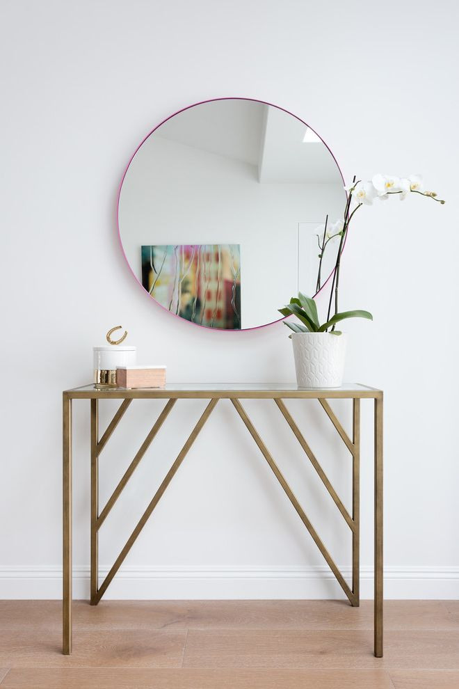 Gold Entry Table with Midcentury Hall Also Gold Entry Table Minimalist Orchid Pink Circle Mirror