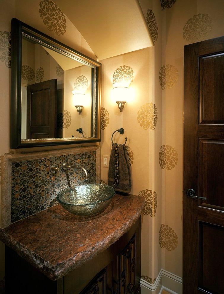 Granite City Omaha   Mediterranean Bathroom Also Arch Bathroom Lighting Furniture Glass Sink Granite Top Granite Vanity Interior Wallpaper Thick Granite Tile Backsplash Vessel Sink Wall Faucet Wall Mirror