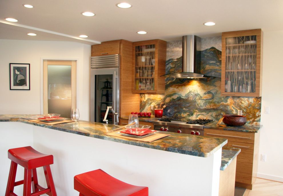 Granite Countertops Albany Ny   Asian Kitchen  and Frosted Glass Glass Front Cabinets Marble Recessed Lights Red Counter Stools Stainless Hood Stainless Refrigerator