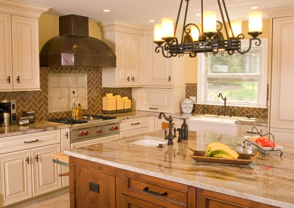 Granite Countertops Albany Ny   Traditional Kitchen Also Apron Sink Ceiling Lighting Crown Molding Farmhouse Sink Herringbone Pattern Kitchen Island Quartzite Recessed Lighting Tile Kitchen Backsplash Two Tone Cabinets White Cabinets