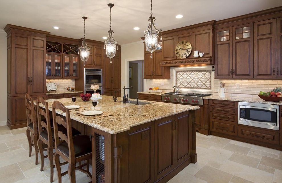 Granite Countertops Albany Ny   Traditional Kitchen Also Counter Seats Custom Cabinets Dark Stained Wood Double Wall Oven Island Island Cook Tops Pendant Lights Raised Panel Cabinets Stainless Appliances Tile Backsplash Tile Floor Wine Storage