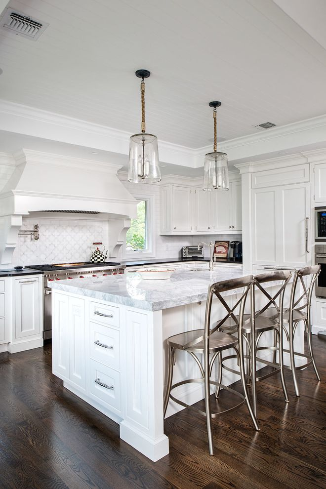 Granite Countertops Albany Ny with Traditional Kitchen  and Brookhaven by Wood Mode Cabinetry Elegant Glass Pendant Lights Pot Filler Silver Bar Stools Tray Ceiling Two Different Countertop White Inset Cabinetry White Kitchen Wood Hood with Corbels