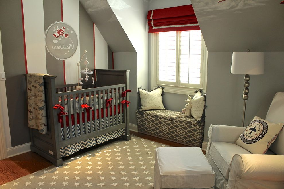 Gray Baby Cribs   Transitional Nursery  and Airplanes Aviation Clouds Dark Gray Crib Grey Ideas for Baby Boy Nursery Red Red Roman Shade Red Window Treatment Stars Striped Walls Vintage Planes White Armchair White Ottoman Window Seat
