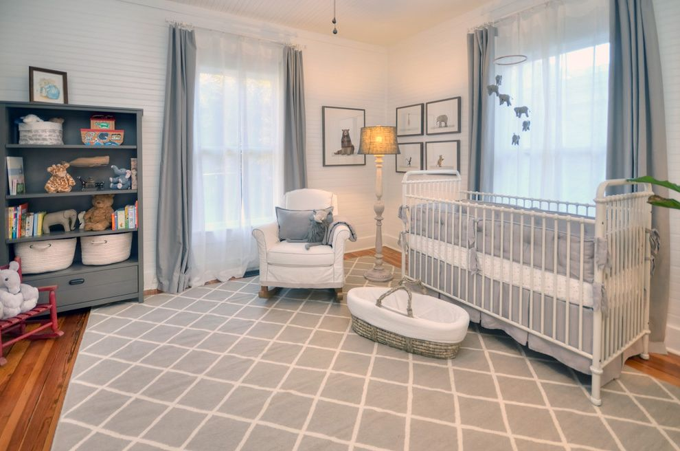 Gray Baby Cribs with Farmhouse Nursery  and Baskets Crib Mobile Gray and White Gray Area Rug Gray Bookcase Gray Curtains Gray Nursery Rocking Chair Sheer Curtains White Crib