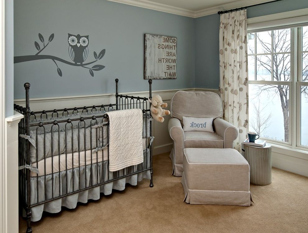 Gray Baby Cribs with Traditional Nursery  and Blue Curtains Double Hung Windows Drapes Enamelled Wainscotting Ideas for Baby Boy Nursery Monogram Nursery Owl Decal Sophisticated Nursery Wainscoting White Wood Window Treatments Wood Molding