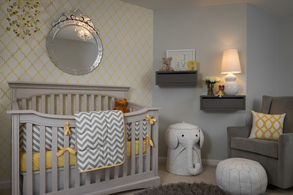 Gray Baby Cribs with Transitional Nursery  and Accent Wall Baby Bedding Crib Crib Bedding Elephant Gray Gray and Yellow Ideas for Baby Boy Nursery Mirror Mobiles Nursery Round Mirror Shelving Wallcovering Wallpaper Yellow