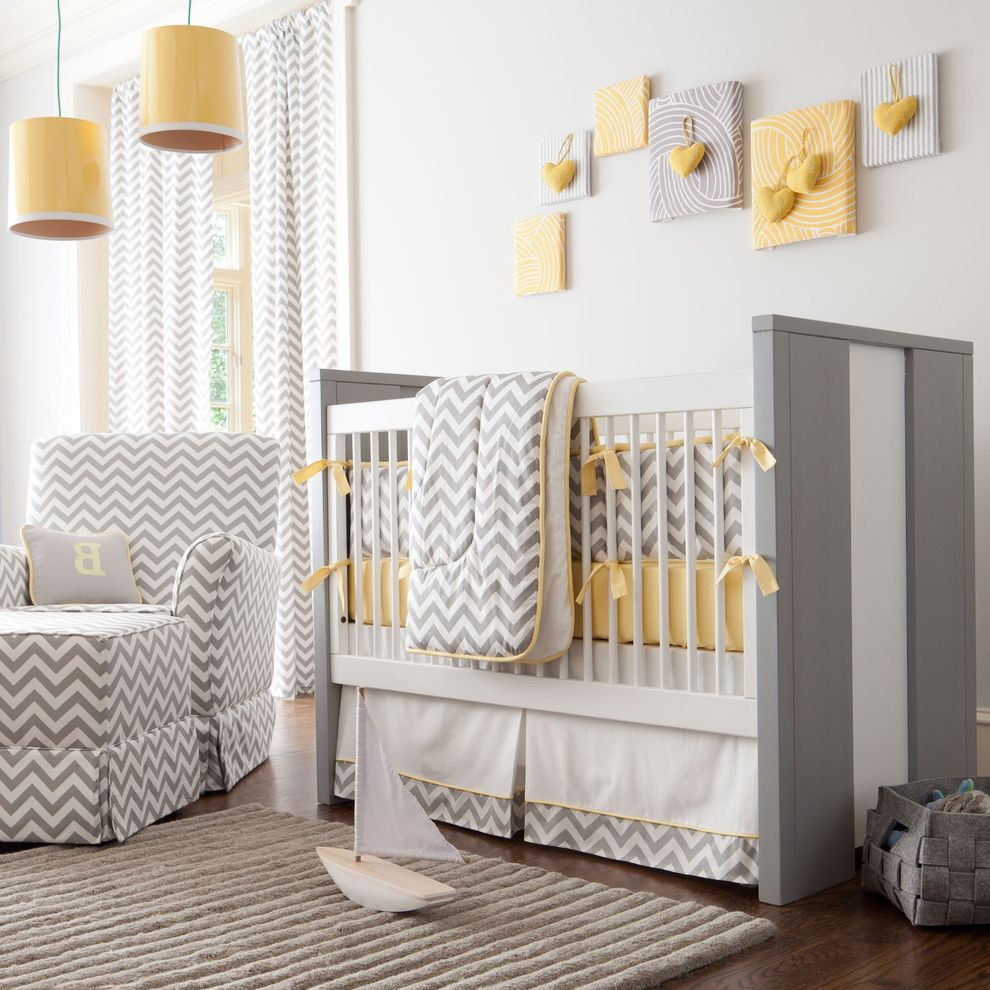 Gray Baby Cribs with Transitional Nursery  and Chevron Crib Curtain Panels Dark Stained Wood Drum Shade Fabric Art Gray Gray Area Rug Hearts Ideas for Baby Boy Nursery Pendant Lights White Walls Yellow