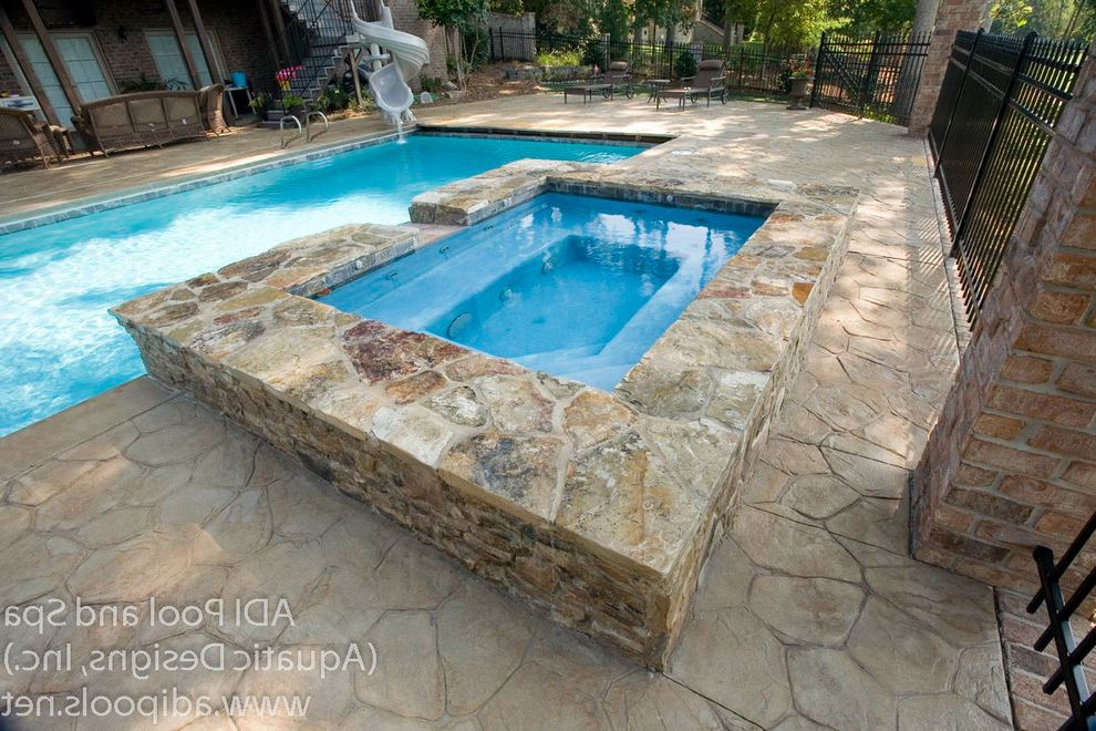 Greensboro Pools with Transitional Pool  and Automatic Pool Cover Pool Slide Spa Stamped Concrete Deck Stone Coping Swimming Pool