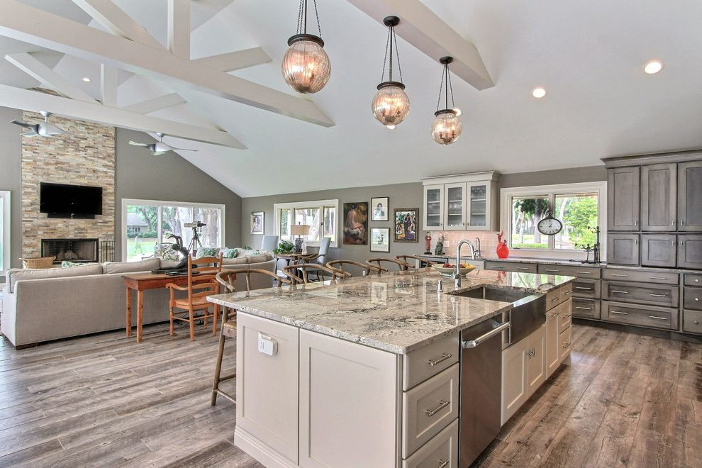 Haas Cabinets   Transitional Kitchen Also Glass Bulb Pendant Light Grey Barnwood Cabinets Open Kitchen Steel Farmhouse Sink Timber Frame Vaulted Ceiling
