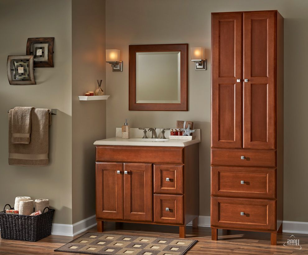 Haas Cabinets with Contemporary Bathroom Also Bathrrom Brown Cabinetry Cabinets Cherry Comfortable Haas Cabinet Indiana Sellersburg Tudor Vanity Warmth