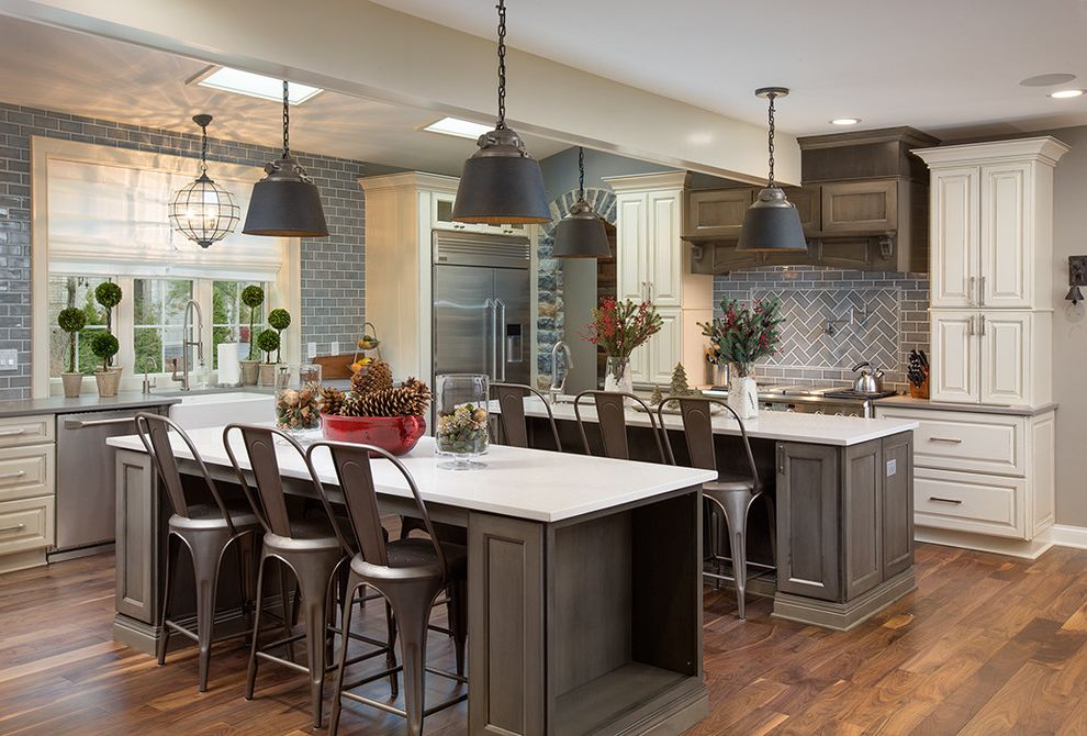 Haas Cabinets with Traditional Kitchen Also Boxwood Brushed Nickel Caeserstone Gas Range Gray Haas Cabinets Metal Counter Stools Quartz Renovations Hardware Schrock Cabinets Skylights Stone Tile Window Above Sink