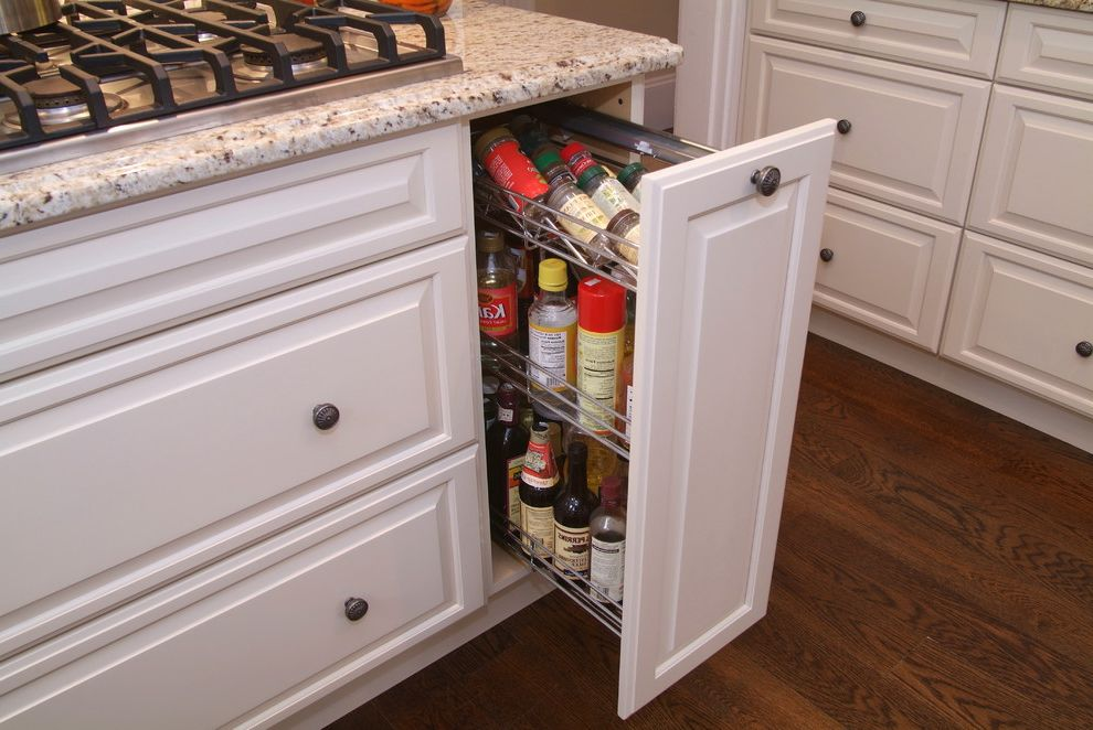 Hafele Usa with Traditional Kitchen Also Condiment Storage Gas Stove Granite Countertop Hardwood Floor Pull Out Spice Rack Spice Organization Spice Storage Storage White Cabinets White Countertop White Drawers White Granite