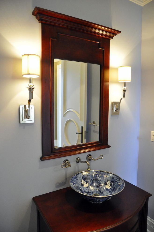 Heating and Cooling Louisville Ky with Traditional Bathroom Also Bathroom Mirror Patterned Sink Sconce Vanity Vessel Sink Wall Lighting Wall Mounted Faucet