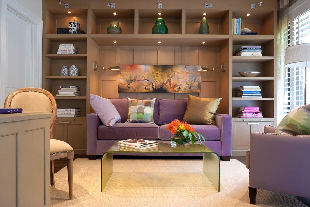 High Quality Sleeper Sofa with Contemporary Home Office Also Area Rug Artwork Blinds Books Built in Cabinets Coffee Table Cubbies Nail Head Detail Pillows Pottery Purple Shelves Velvet Wall Sconces Waterfall Table