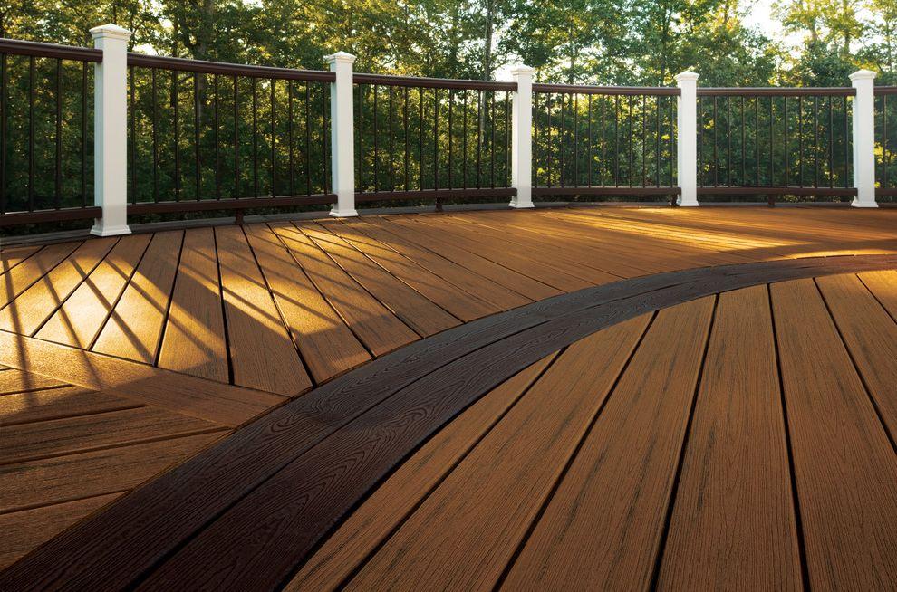 Home Depot Composite Decking   Traditional Deck  and Curved Curved Deck Curved Rail Deck Epdm Outdoor Living Trex Transcends