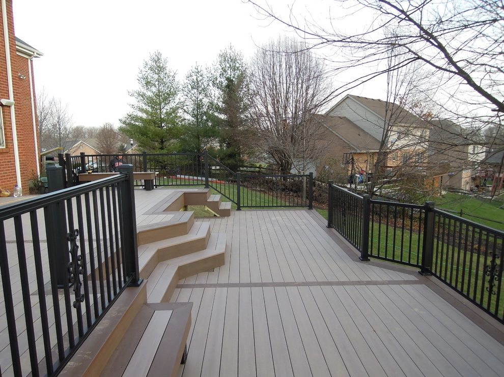 Home Depot Composite Decking with Traditional Deck  and Aluminum Railing for Deck Azek Deck Benches Pvc Deck Two Tone