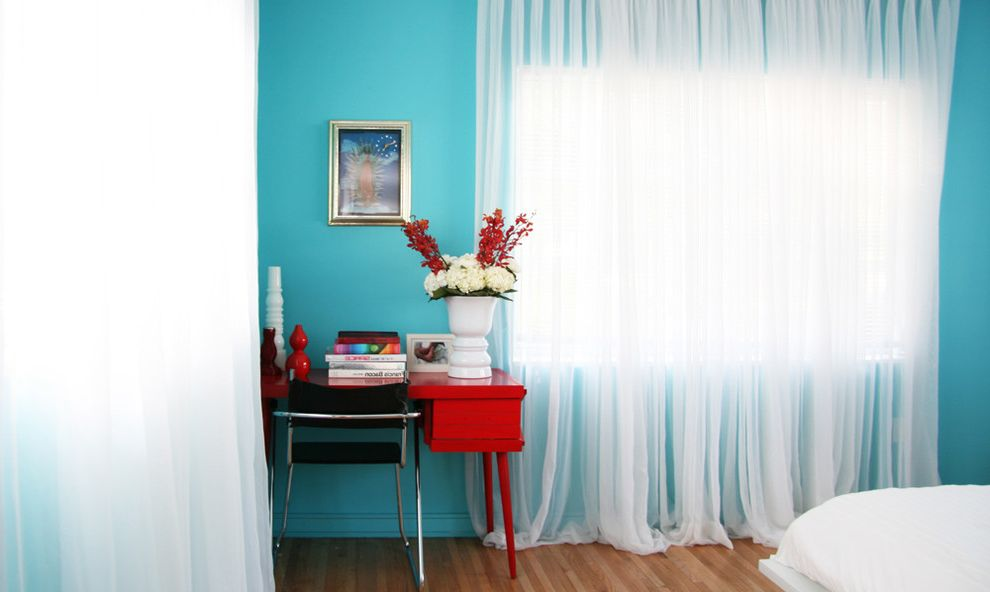 Home Depot Riverbank   Contemporary Bedroom Also Bold Colors Bright Colors Curtains Drapes Floral Arrangement Mid Century Modern Tablescape Turquoise Walls Wall Art Wall Decor Window Sheers Window Treatments Wood Desk Wood Flooring
