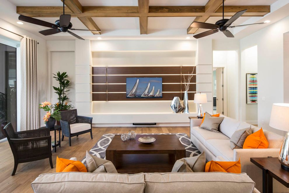 Home Depot Sarasota with Transitional Family Room  and Accessories Armchairs Ceiling Fan Coffee Table Coffered Ceiling Custom Home Home Decor Orange Accents Sofa Wood Beams