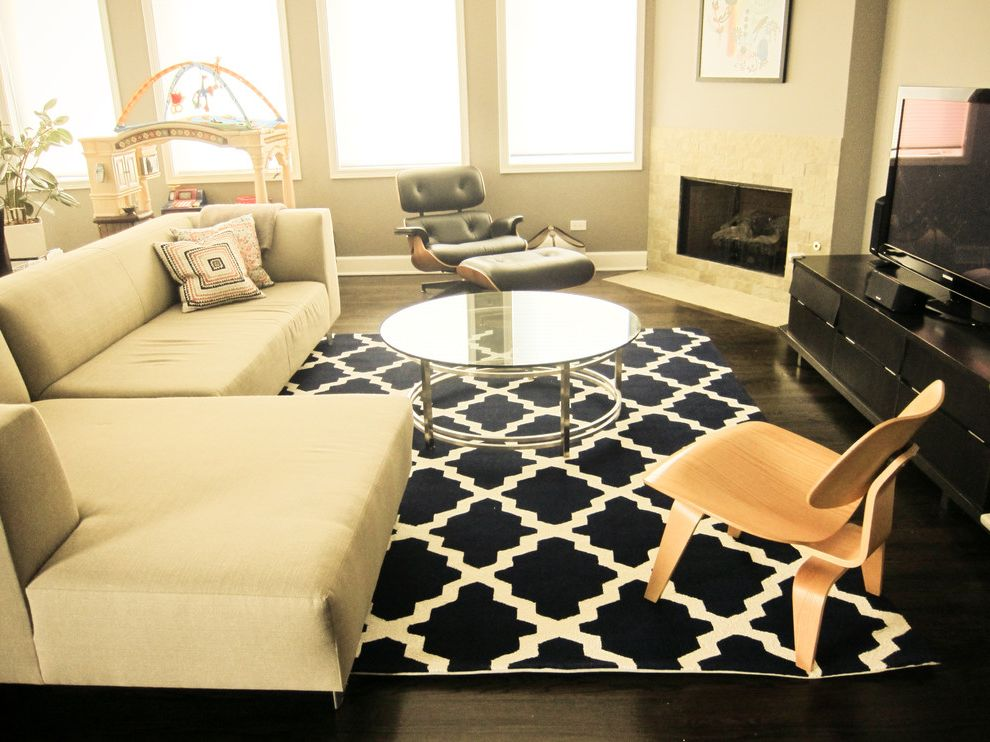 Home Goods Area Rugs   Contemporary Family Room  and Area Rug Corner Fireplace Corner Sofa Glass Coffee Table Mid Century Modern Modern Icons Neutral Colors Round Coffee Table Sectional Sofa