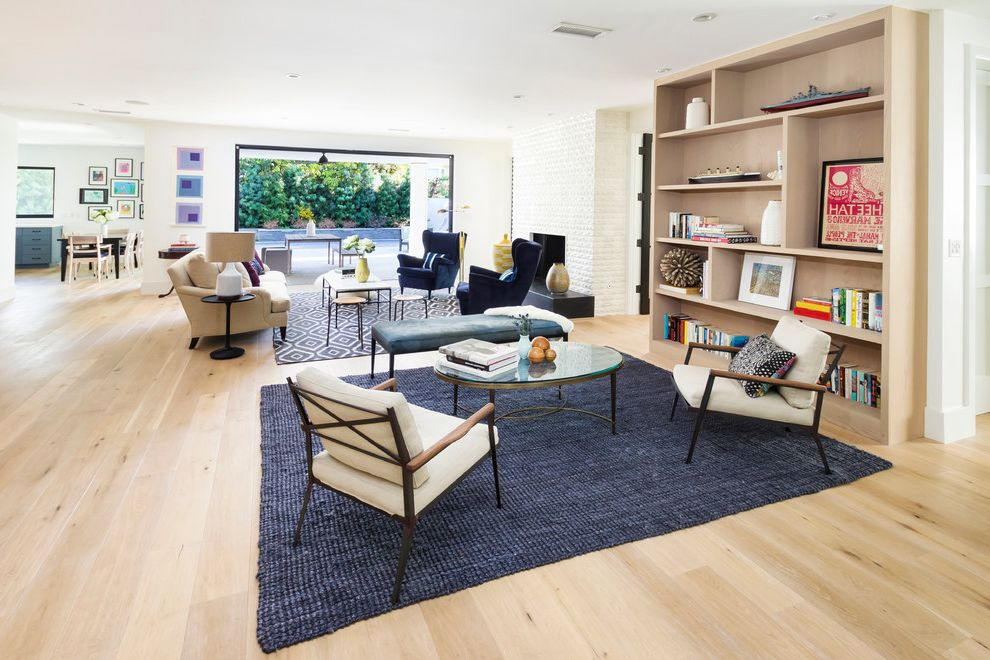 Home Goods Area Rugs   Transitional Living Room Also Area Rugs Blue Rugs Built in Bookcases Fireplace Indoor Outdoor Indoor Outdoor Living Jute Rug Light Wood Floors Minimalist Open Floor Plan Two Sitting Areas White Chimney White Walls