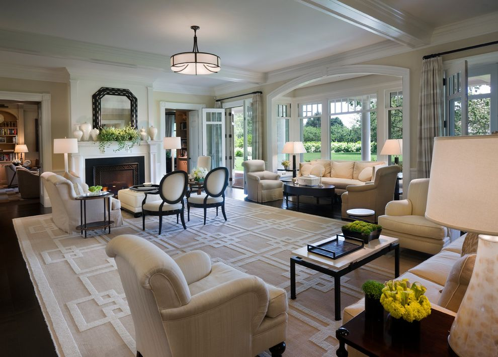 Home Goods Area Rugs with Victorian Living Room  and Area Rug Arm Chairs Bay Window Dark Wood Floor Fireplace Formal Greek Key Area Rug Mahogany Mantel Seating Area Sofa Tan Toupe White Beams White Casing