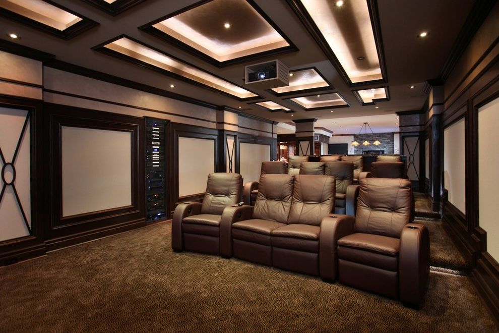 Home Theater Component Rack   Transitional Home Theater Also Armchairs Armrests Brown Leather Chairs Brown Rug Ceiling Lighting Coffered Ceiling Cup Holders Dark Brown Trim Love Seat Movie Room Projector Theater Seating