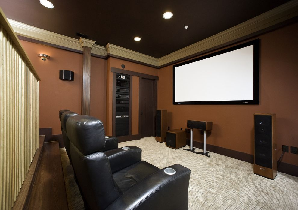 Home Theater Component Rack with Contemporary Home Theater Also Black Leather Recliner Brown Wall Carpeting Cinema Seating Crown Molding Dark Stained Wood Recessed Lights