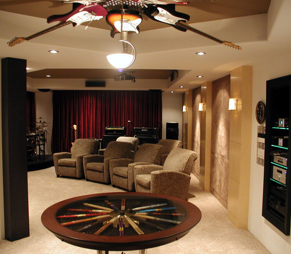 Home Theater Component Rack with Contemporary Home Theater  and Ceiling Lighting Drumsticks Guitars Home Theater Music Room Recessed Lighting Recliners Rock and Roll Sconce Screening Room Stage Velvet Curtains Wall Lighting