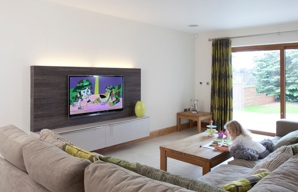 Tv Mount With Contemporary Family Room