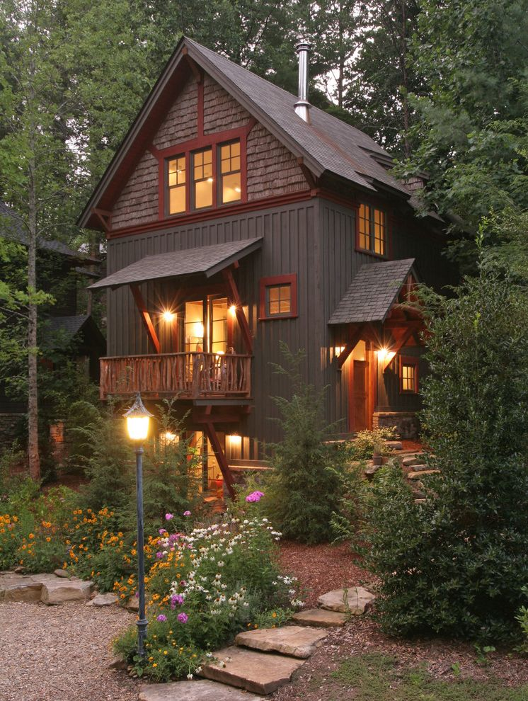 House of Tans with Rustic Exterior  and Board and Batten Craftsman Mountain Red Trim Shingle Small Footprint Small Home