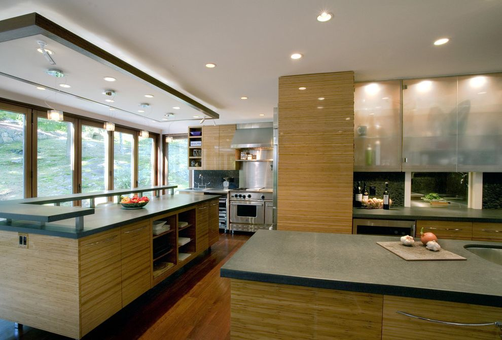 How to Clean Bamboo Floors   Modern Kitchen  and Backlighting Ceiling Lighting Cove Lighting Dark Countertops Kitchen Island Multiple Islands Recessed Lighting Stainless Steel Appliances Westchester Wood Flooring