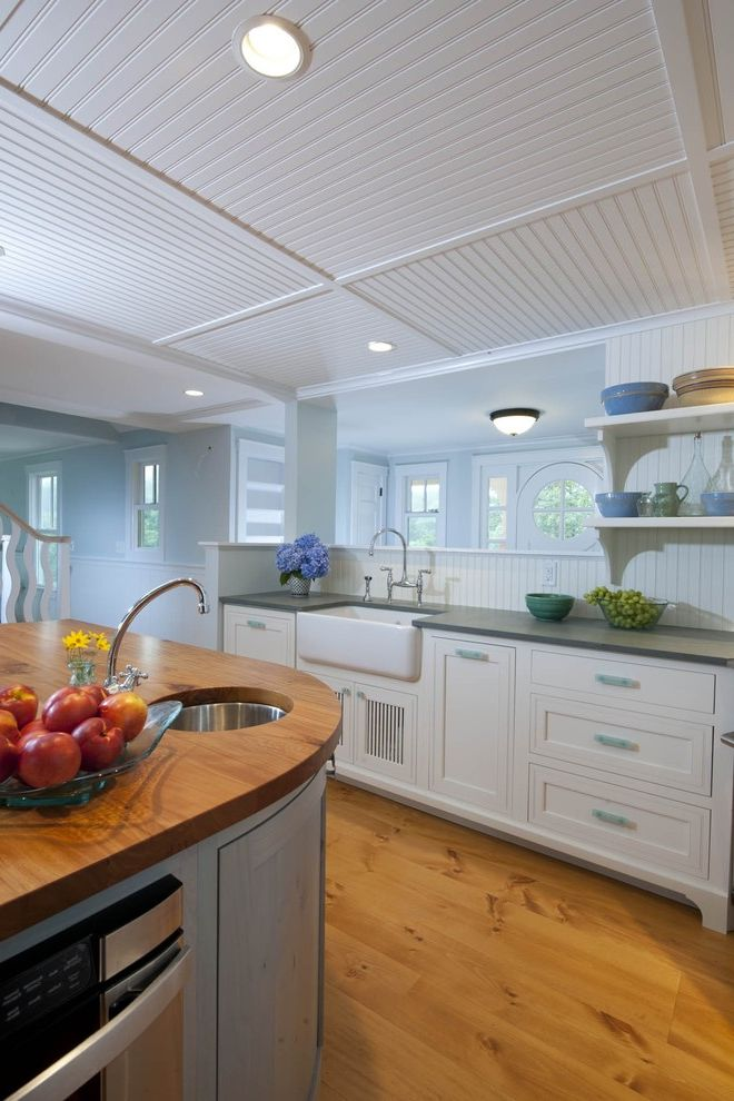 How to Clean Silverware with Eclectic Kitchen Also Apron Sink Beadboard Ceiling Curved Cabinets Farm Sink Frame and Panel Gray Counters Recessed Lights Stiainless Steel Wainscot White Painted Wood Wood Counter Wood Floor