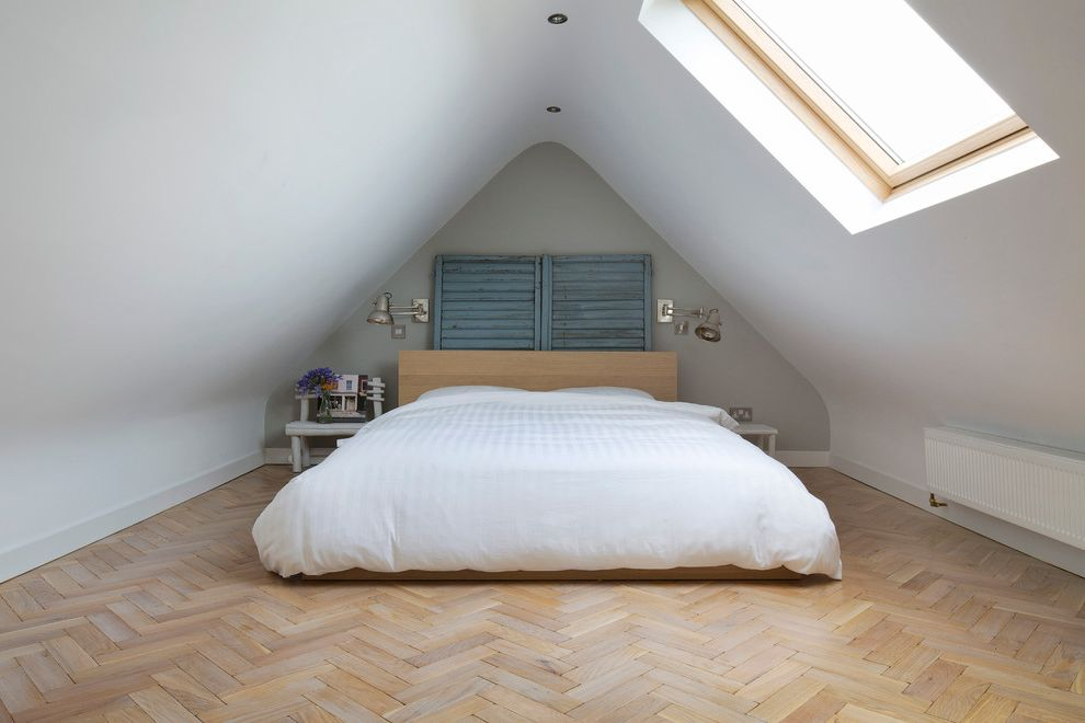 How to Dispose of Old Mattress and Box Springs   Transitional Bedroom  and Attic Bedroom Attic Ceiling Bedroom Herringbone Wood Floor Low Ceiling Parquet Flooring Pented Ceiling Rustic Skylight Traditional Design Vintage White Duvet Cover Wood Floor
